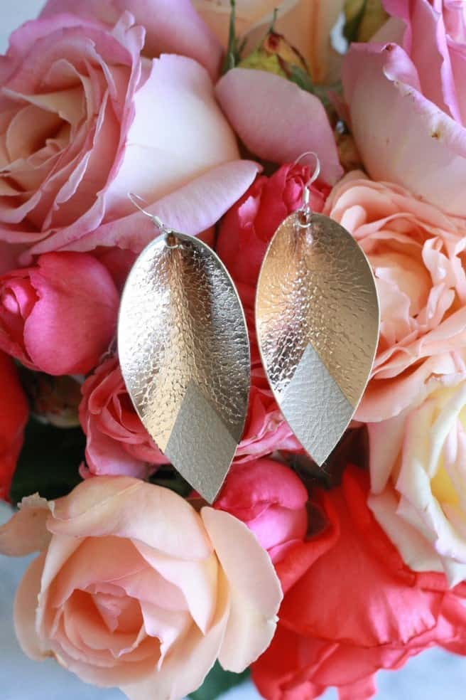 leather gold earrings