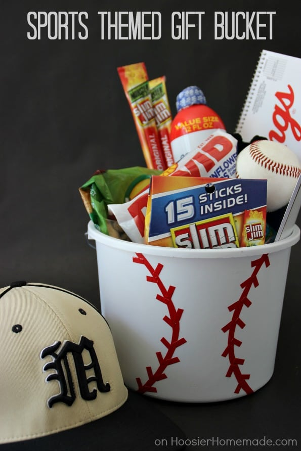 baseball basket filled with snacks