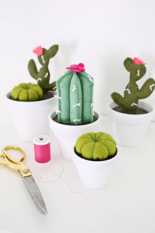 pincushion in painted pot