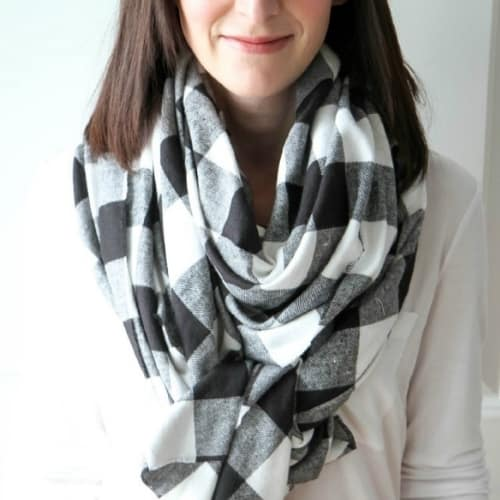 homemade black and white checked scarf
