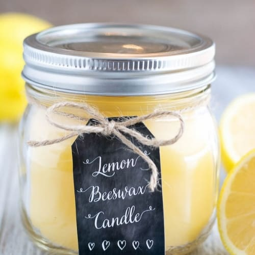 lemon beeswax candle in jar with lid