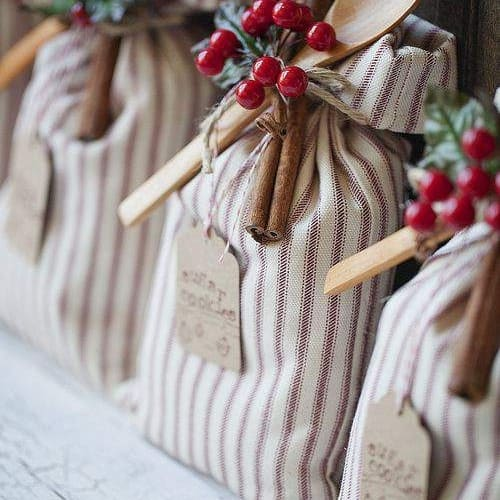 fabric gift bags filled with cookie mix
