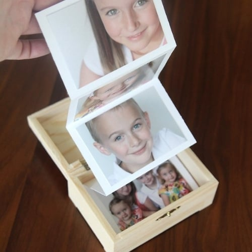 homemade wooden box with photos