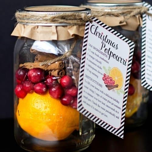 Christmas potpourri jar gift