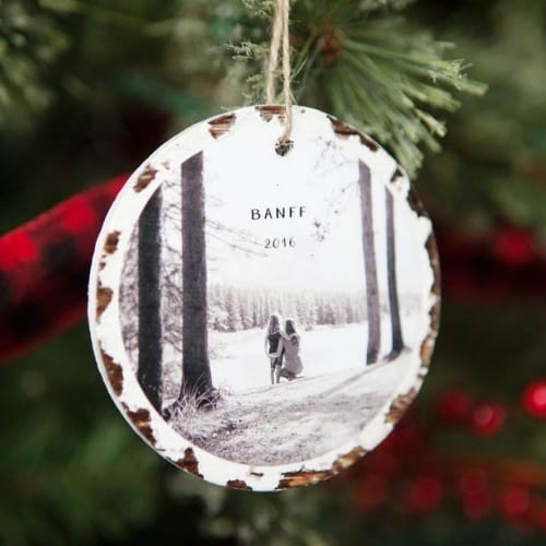 homemade wooden photo ornament