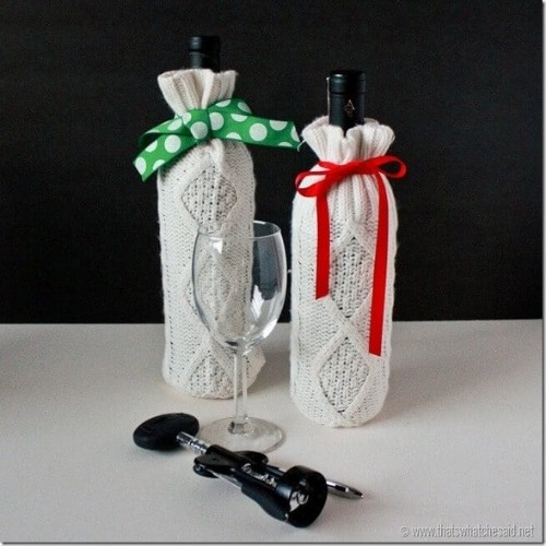 crocheted bottle cozies