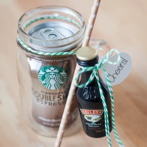 mason jar, coffee, and Bailey's cream