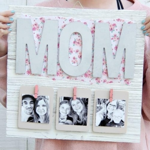 rustic wooden photo holder