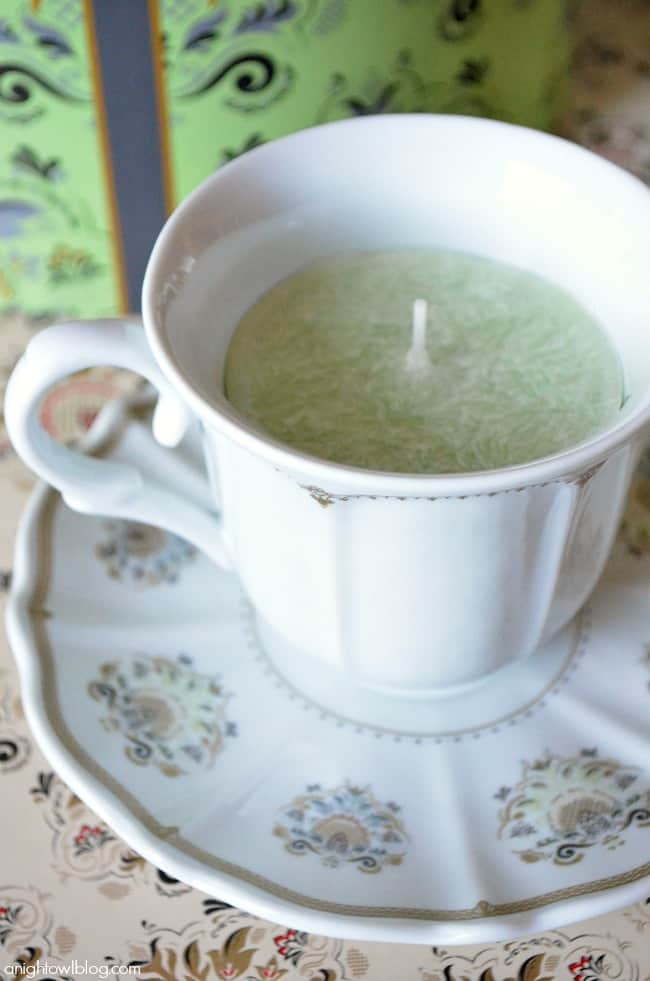 candle in a teacup