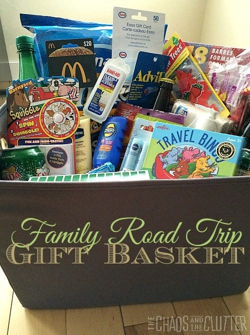gift basket filled with road trip supplies