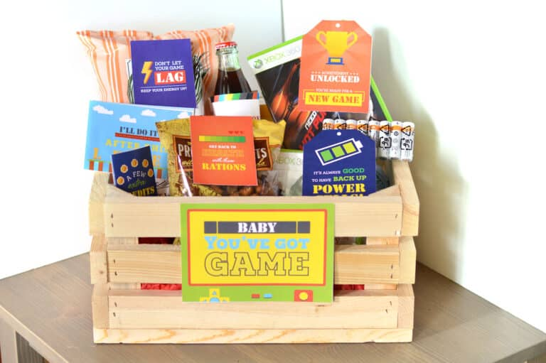 wooden crate filled with games and snacks for teen