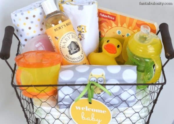 wire basket filled with baby items
