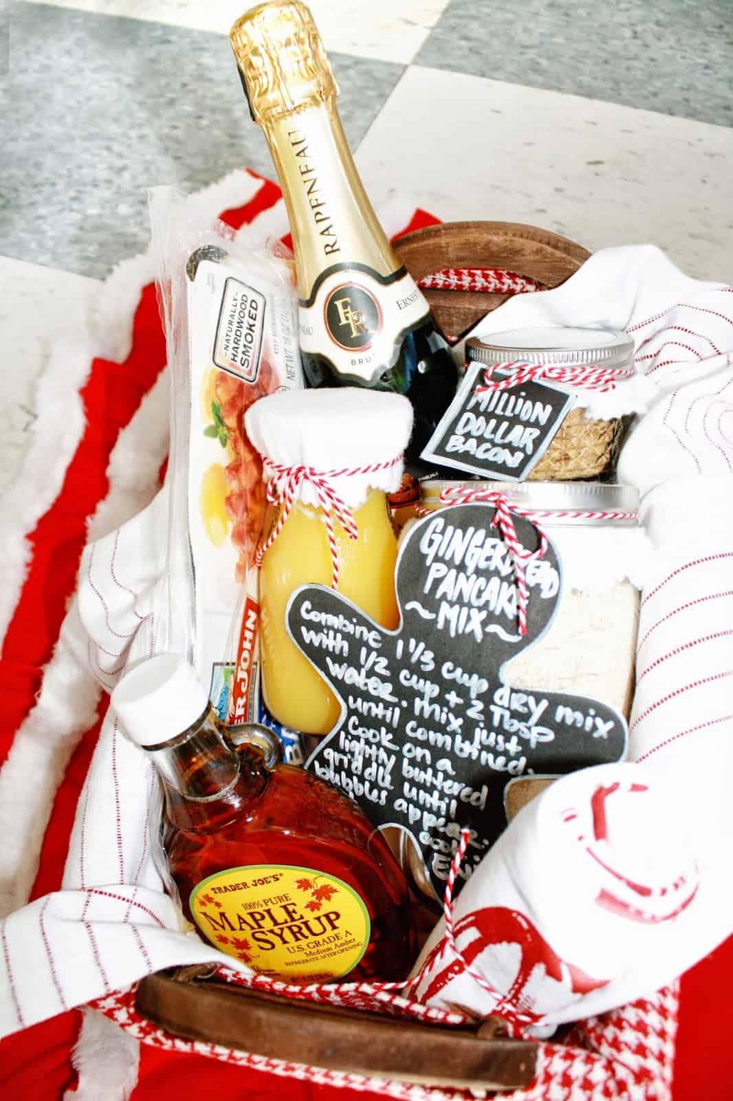 Pancake ingredients in a gift basket