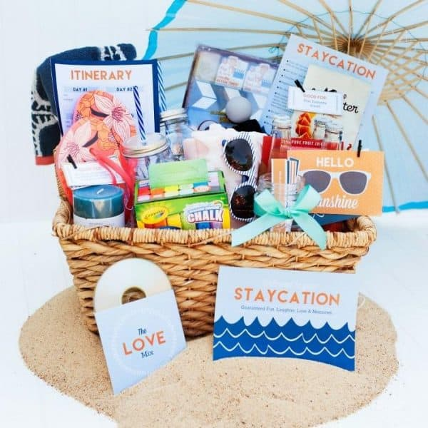 staycation basket filled with goodies