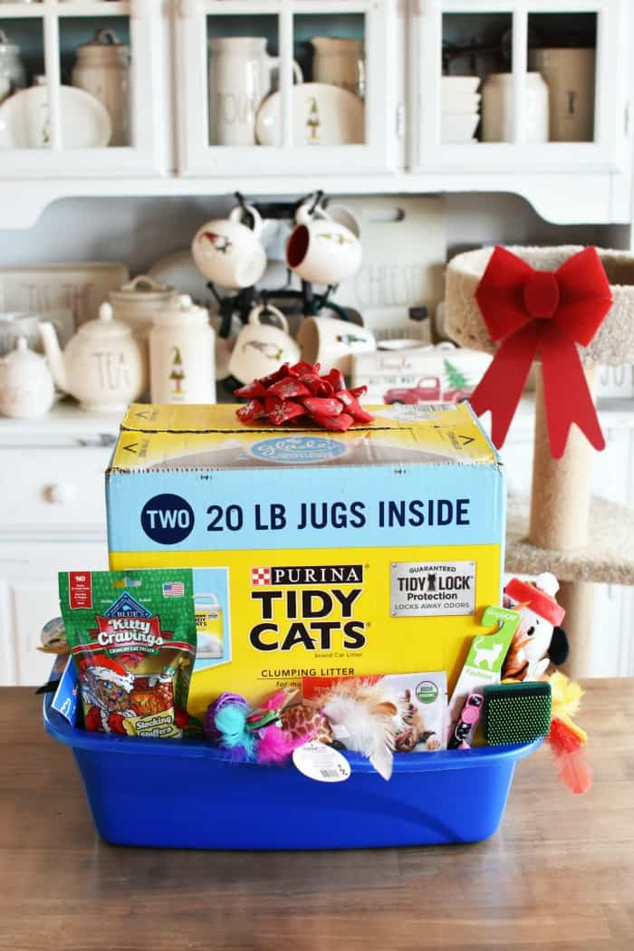 litter box filled with cat toys and supplies
