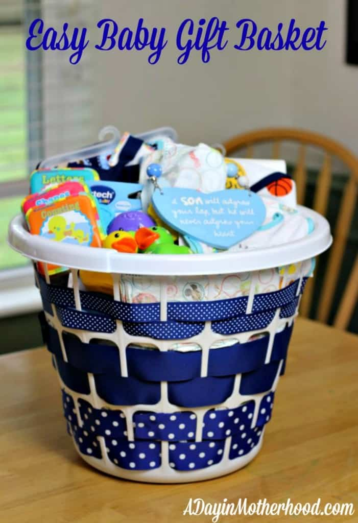 laundry basket filled with baby items