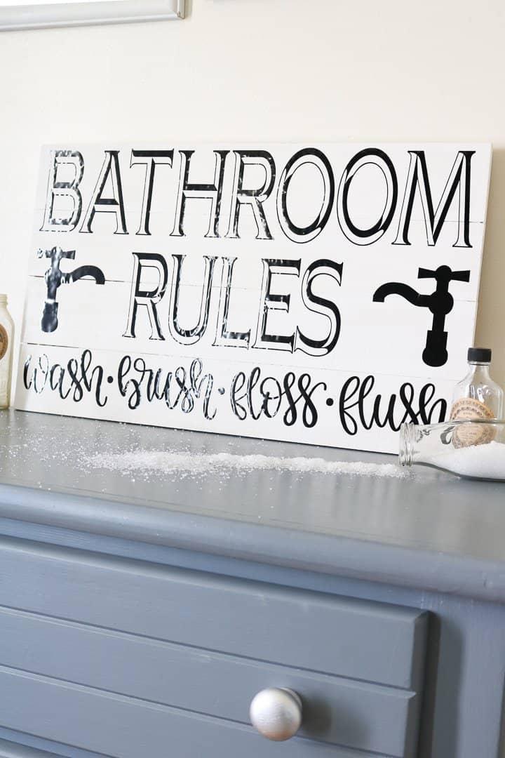 cricut farmhouse bathroom sign