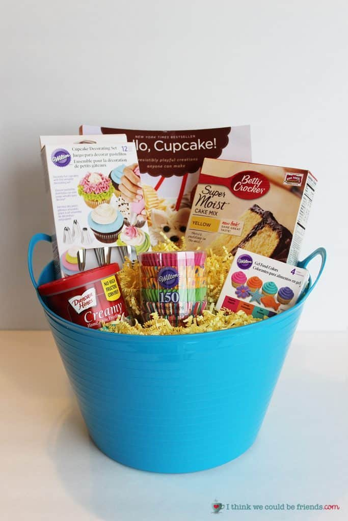 plastic bucket filled with cake mixes