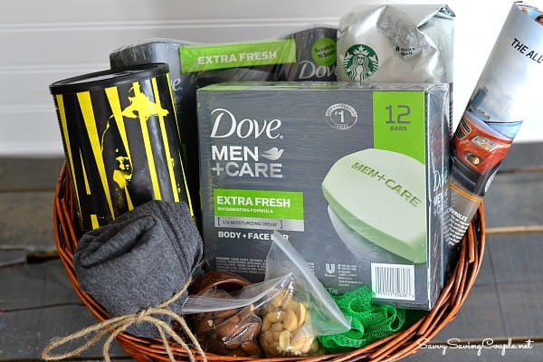 gift basket filled with men care supplies