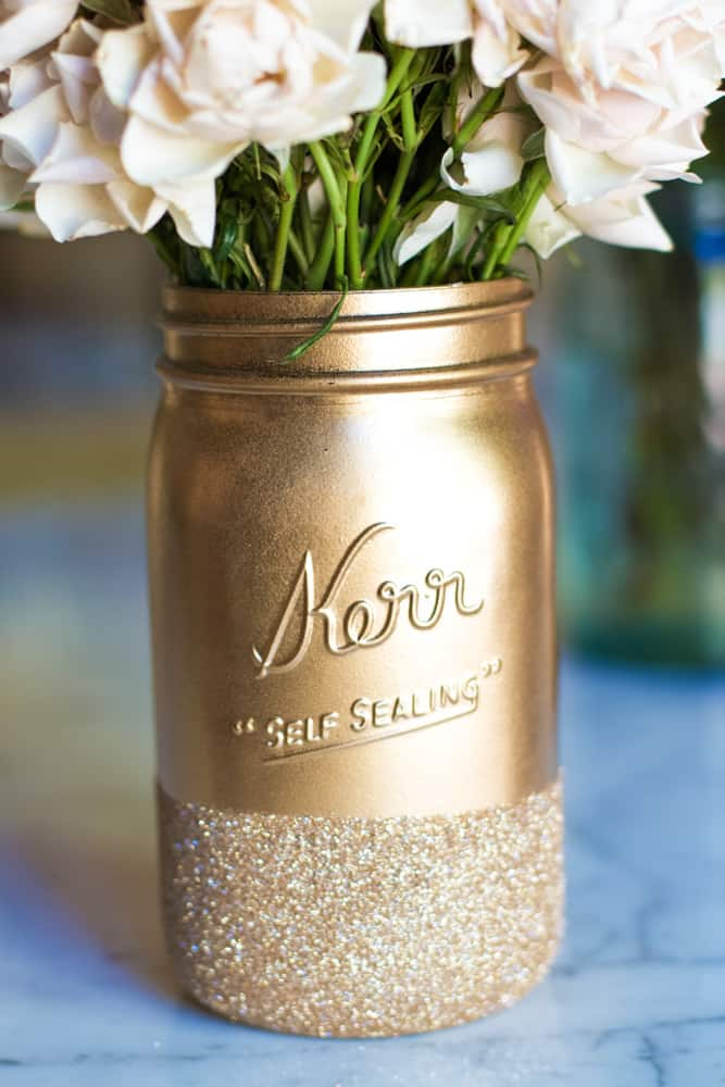 painted gold mason jar vase