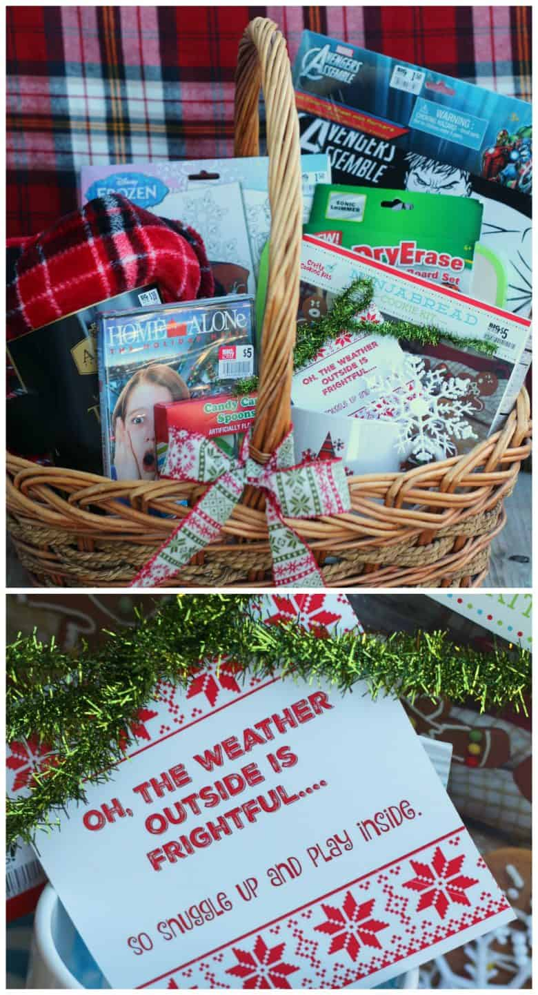 gift basket filled with movie fun and games