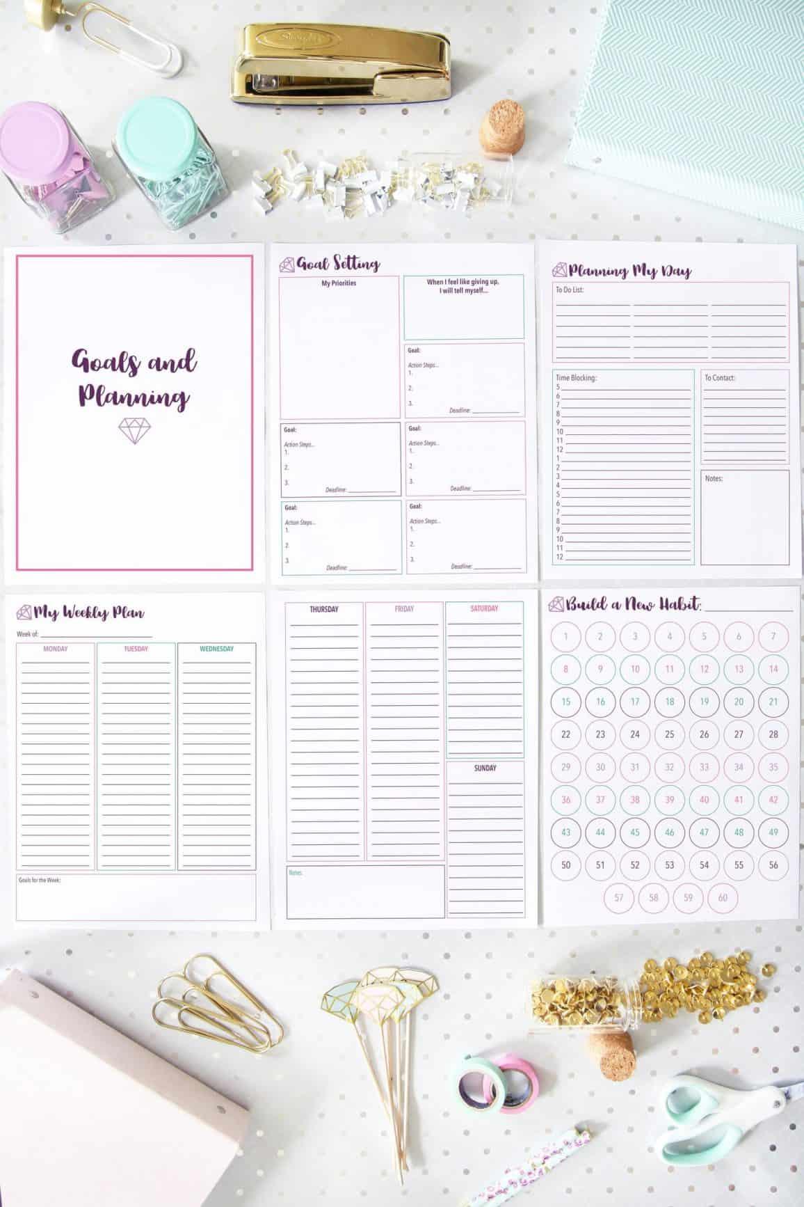 printable goal planning sheets