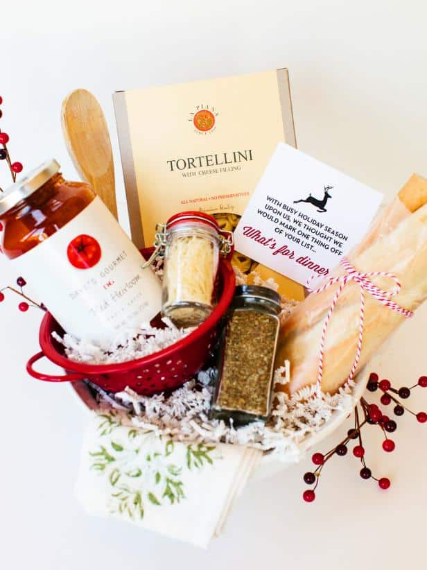 gift basket filled with spaghetti ingredients