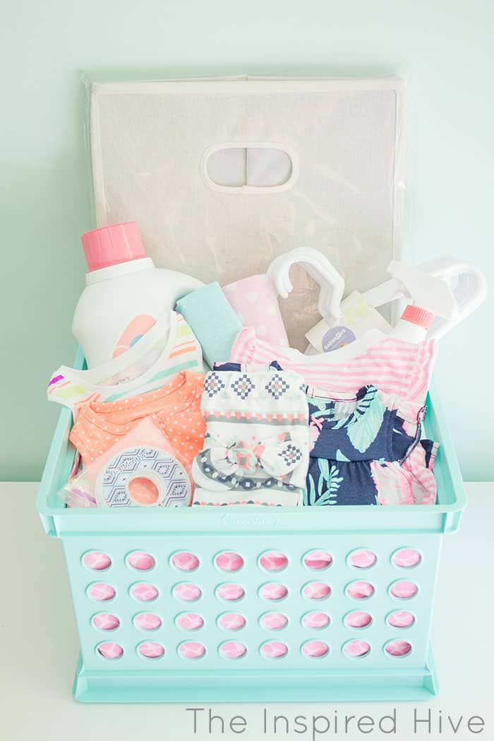 crate filled with baby gifts