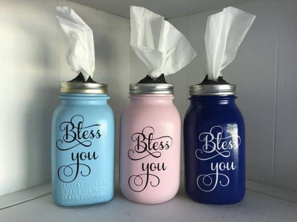 painted mason jar tissue holders