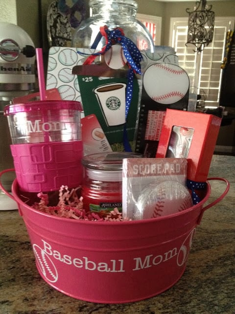 plastic bucket filled with sports theme gifts