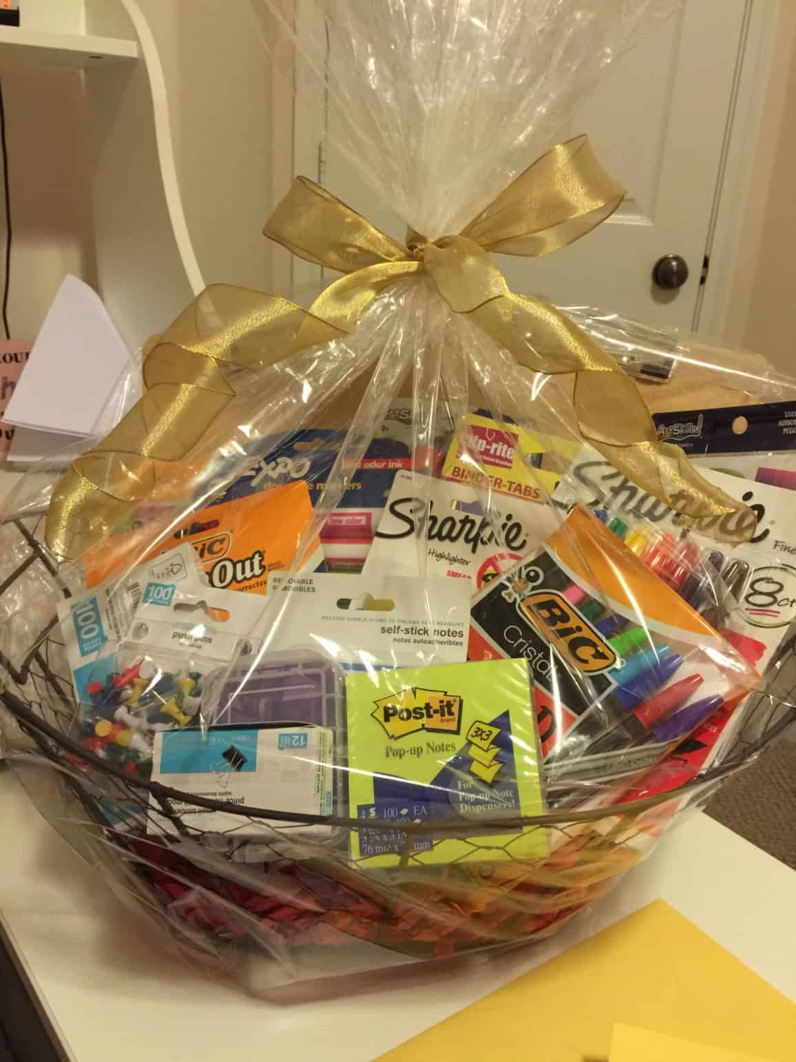 wire basket filled with office supplies gift