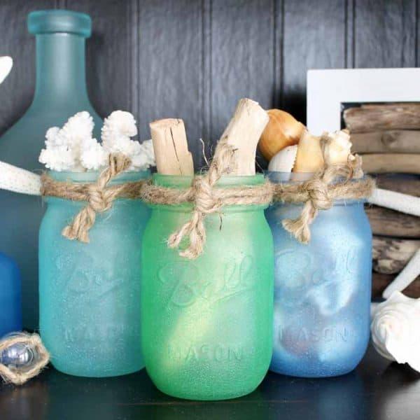painted glass coastal mason jars
