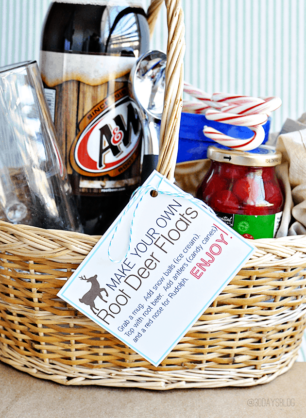 basket filled with root beer float ingredients