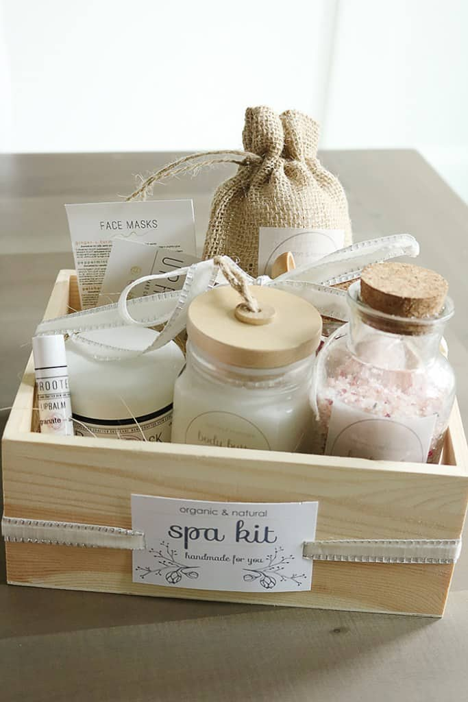 wooden box filled with spa supplies