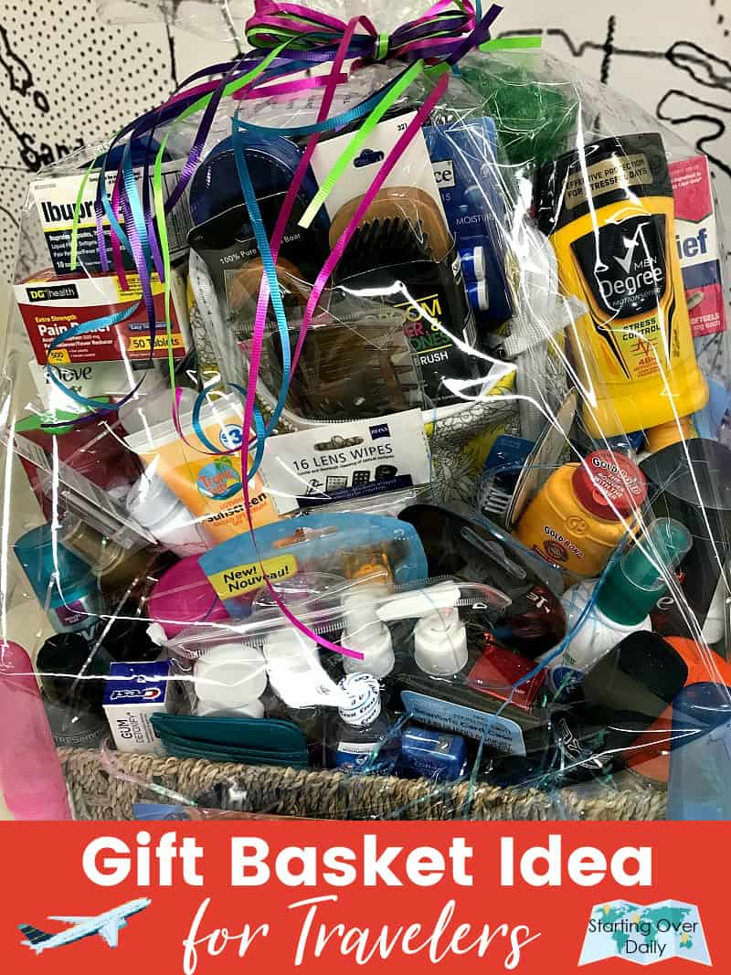 Christmas gift basket ideas-basket filled with travel size products