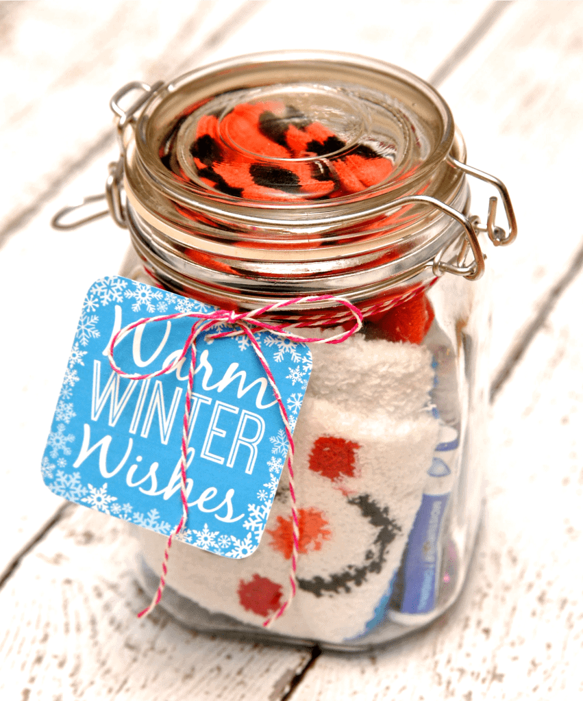 jar filled with warm socks and chapstick gift