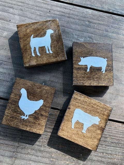 farm animal wooden coasters