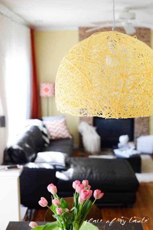 yarn pendant light yellow