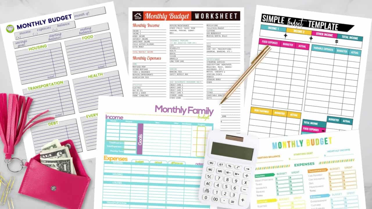 free printable budget templates-printable budget sheets woman's wallet with money, gold pen, white calculator