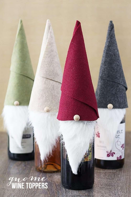 felt gnome wine bottle toppers