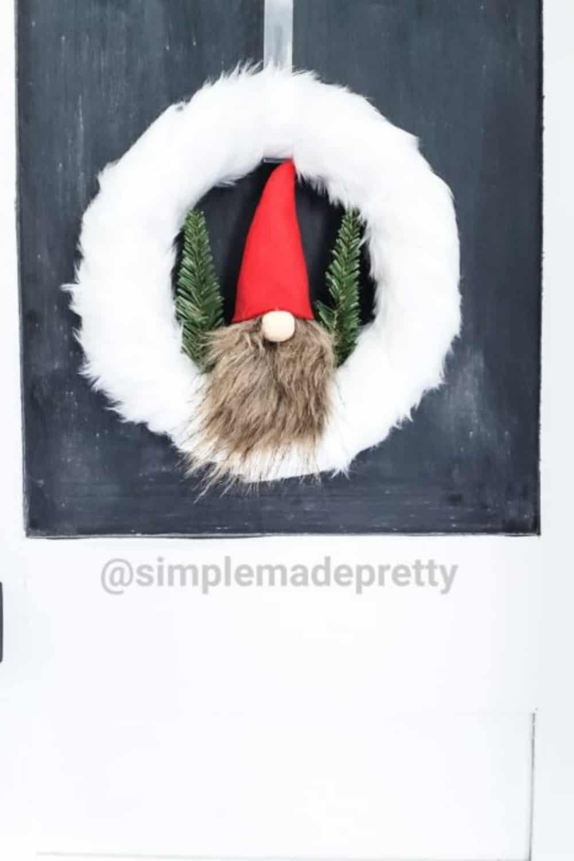 faux fur gnome wreath