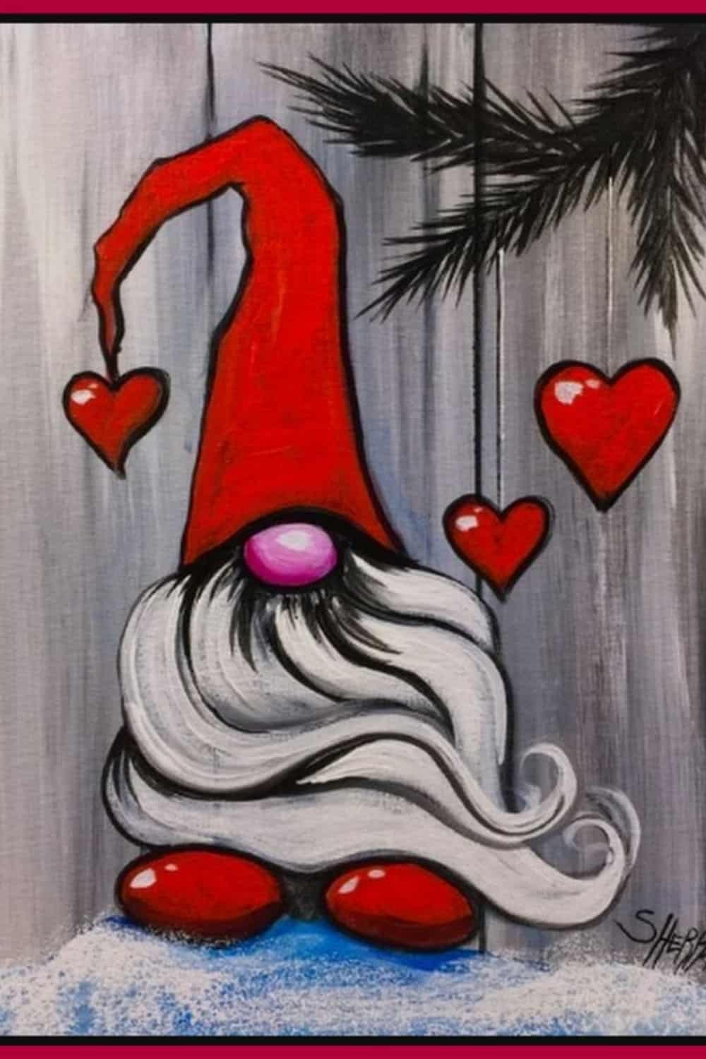 gnome painting on wood
