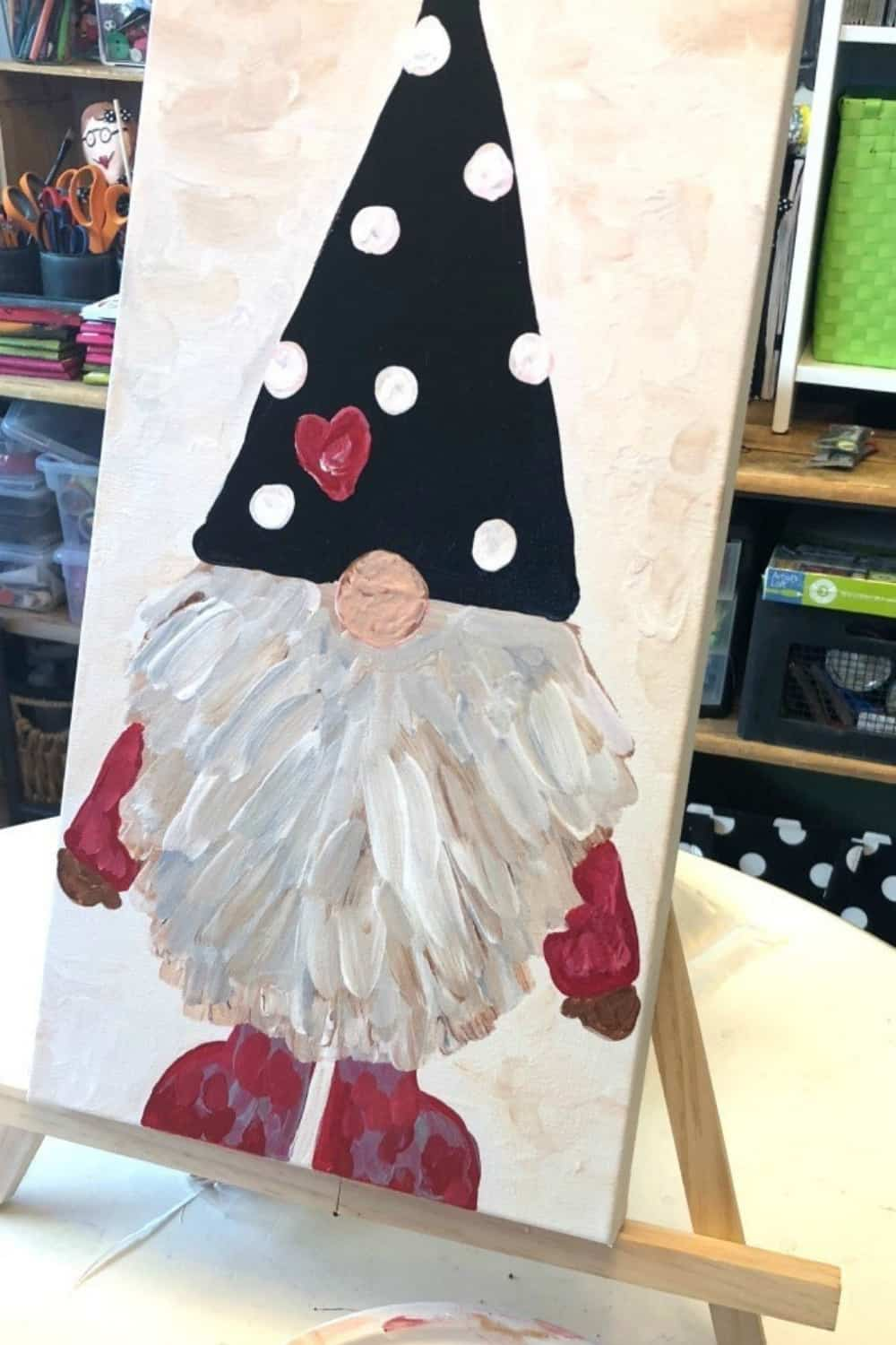 gnome painting on canvas