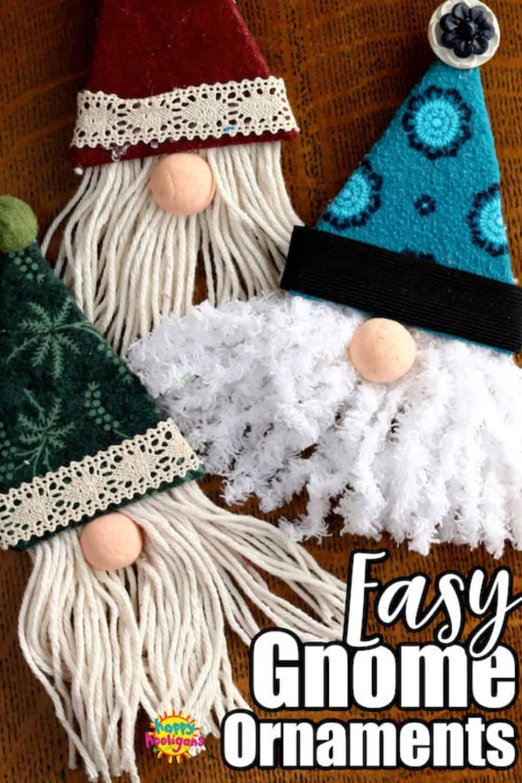 three gnome ornaments