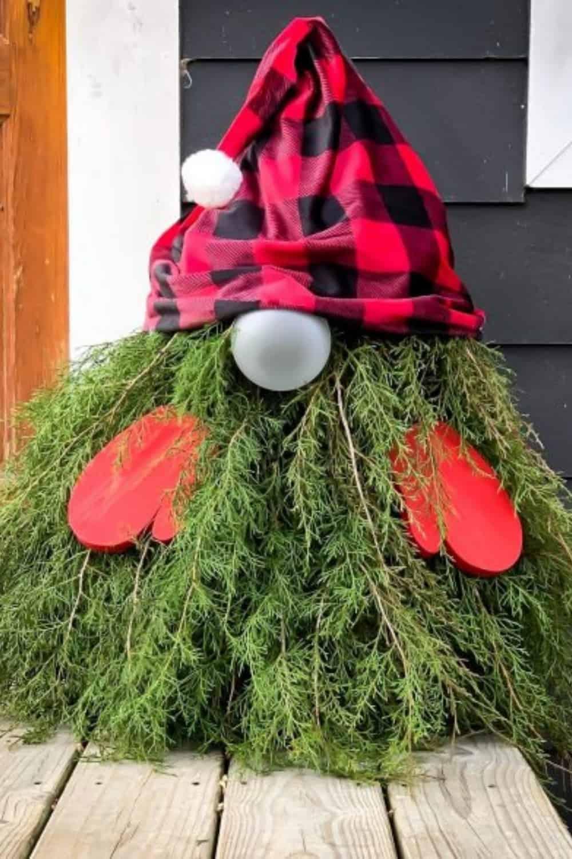 outdoor diy pine tree gnome