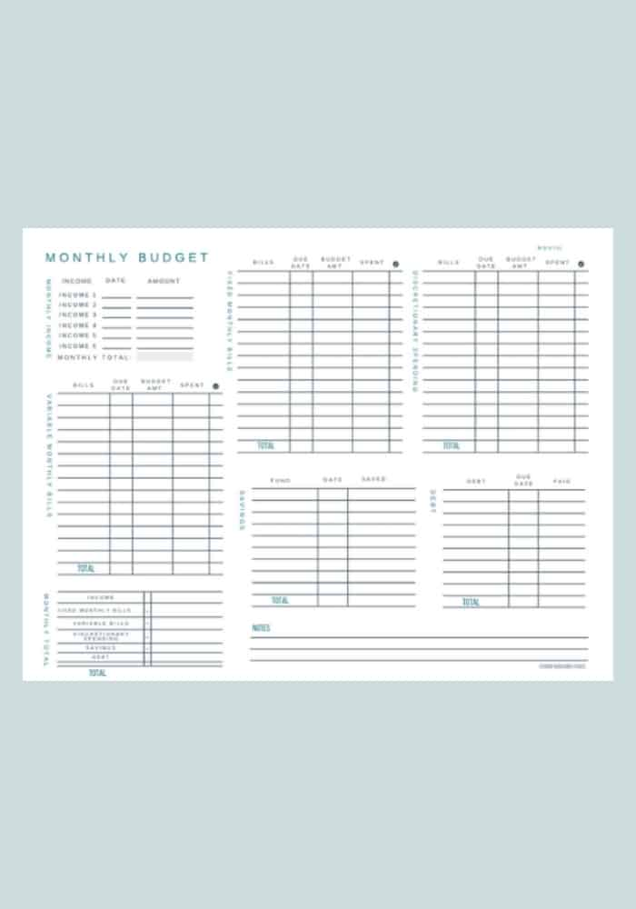 simple blank budget sheets