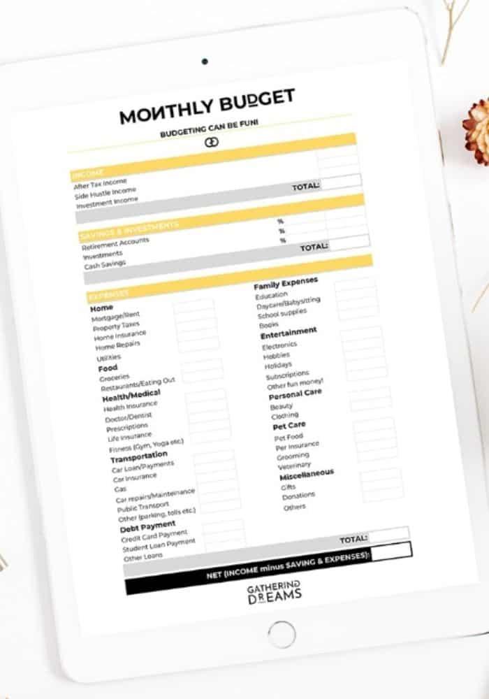 free printable budget templates
