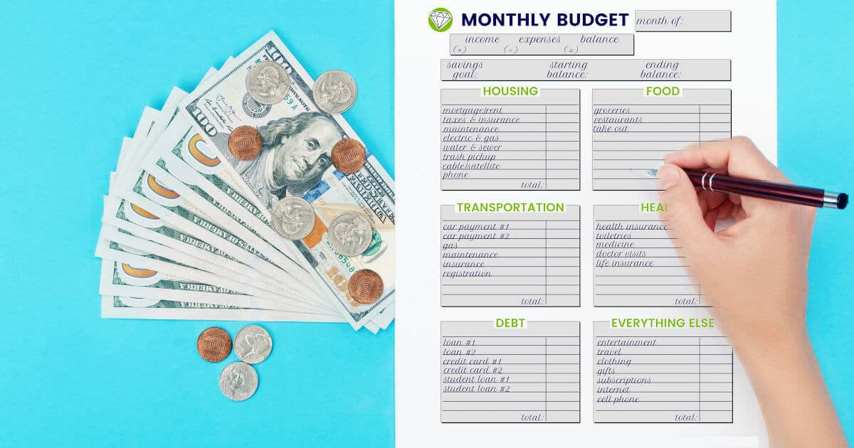 woman's hand filling out budget template, cash and coins on table beside her