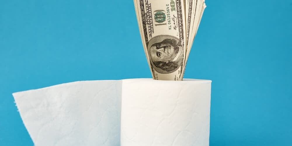 roll of toilet paper with hundred dollar bills