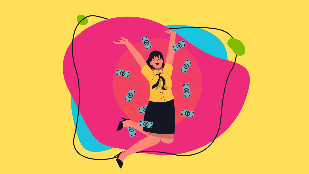 woman jumping surrounded by cash-18 dollars an hour is how much a year